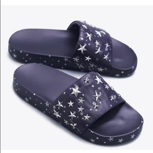 Tory Burch leather navy blue star slides
